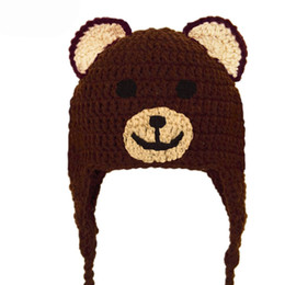 crochet baby earflap hat UK - Free Post Lovely Brown Teddy Bear Hat,Handmade Knit Crochet Baby Boy Girl Animal Earflap Hat,Infant Toddler Winter Cap,Baby Photography Prop