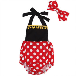 Wholesale Infant Girl NZ - Baby Toddler Girl Clothes Infant Romper Dress Black Red White Mini Mouse Onesies Dot Jumpsuit Bodysuit Playsuit Boutique Kid Clothing Outfit