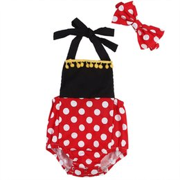 Barato Vestido Infantil Vermelho-Baby Toddler Girl Clothes Vestido infantil Romper Black Red White Mini Mouse Onesies Dot Jumpsuit Bodysuit Boutique Playsuit Boutique Kid Outfit