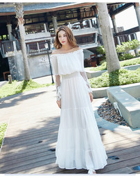 $enCountryForm.capitalKeyWord NZ - 2017 summer off shoulder long lace sleeve Dresses Sexy withe Elegant chiffon dress for beach with shipping free