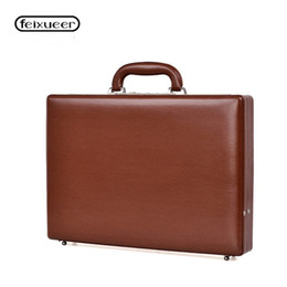 luxury briefcase man Canada - feixueer Luxury Business Leather Suitcase 14'' Laptop Briefcase Men Password Case Fashion Multifunctional Toolbox Women Brown
