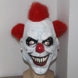 new clown masks 2019 - Wholesale- X-MERRY Free Shipping ! Scary Clown Mask Wide Smile Red Hair Evil Adult Creepy Halloween Costume NEW cheap ne