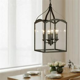 Retro Pendant Lights American Industrial Black Iron Square Glass Box Chandeliers Light Loft Lamps Living Room Dining Bar Lamp