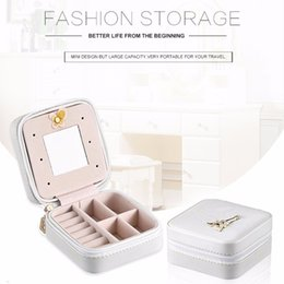 Caskets Rings NZ - 2 Color Innovative Mini PU Leather Casket For Jewelry Travel Case Ring Earrings Necklace Storage Potable Jewelry Storage Box
