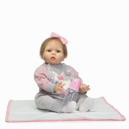 diy gifts for babies Canada - Reborn Baby Doll 22 inch 55 cm Silicone Vinyl Girl Doll Blond Hair Soft Cloth Body Alive toddler Baby Chiristmas Gift for Kids