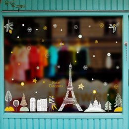 Christmas Windows Stickers Canada - New Christmas Decorative Decal Window Stickers Removable DIY Glass Wall Festival Decals Murals Gift Christmas in Paris QTT56-4