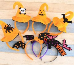 Discount hard hats designs - New 8 Designs Halloween Hairbands With Witch Hat For Girls Kids Adult Cute Fabric Velvet Cap Hard Headbands Party Hair A