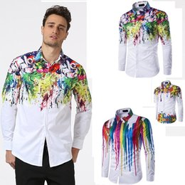 $enCountryForm.capitalKeyWord Canada - 3 Styles Inked Shirts Man Fashion Shirt Pattern Design Long Sleeve Paint Color Print Slim Fit man Casual Shirt Men Dress Shirts