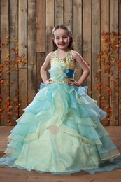 Robe Bleue Bleue Pas Cher-Lovely Yellow / Blue Organza Halter Beads Girl's Pageant Robes Flower Girl Dresses Princess Robes de soirée Custom Made 2-14 F602109