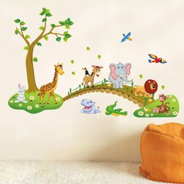 Tiger Wall Stickers NZ - Cute Animals Wall Sticker Zoo Tiger Lion Tree Forest Vinyl Art Wall Stickers Colorful PVC Decal Decor Kid Baby Room