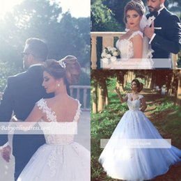 Robes De Mariage Bretelles Pas Cher-2018 Said Mhamad Lace Ball Gown Robes de mariée Spaghetti Straps Backless Lace Court Train Vintage Robes de mariée Custom Made