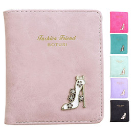 lovely fashion wholesale Canada - Lovely Women Short Purse Fashion Girl High Heels PU Leather Mini Slim Coin Purse Wallet Card Holders Handbag Bag