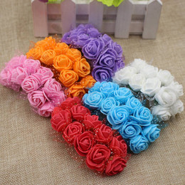 Hand Crafted Flowers NZ - Wholesale- 12pcs mini foam hand bouquet of roses wreath of artificial flowers wedding decoration DIY craft supplies real touch roses