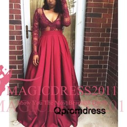 $enCountryForm.capitalKeyWord NZ - 2016 Sexy Deep V-Neck Prom Evening Dresses with Long Sleeves A-Line Illusion Bodice Lace Burgundy Satin Red Carpet Formal Prom Party Gowns
