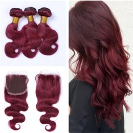 $enCountryForm.capitalKeyWord Australia - Hot Product #99J Wine Red Colored Hair Extensions With Top Closure 4x4 Body Wave Hair 3 Bundles With Lace Closure