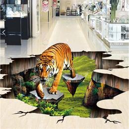 Atacado-Custom foto 3d piso mural auto-adesivo de parede adesivo 3 d Tigre ao ar livre para desenhar pintura 3d parede da parede murais papel de parede venda por atacado