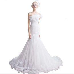 $enCountryForm.capitalKeyWord UK - Sweep Train Beautiful Women One Shoulder Wedding Gowns White Bridal Mermaid Dress vestido de noiva renda Corset Back