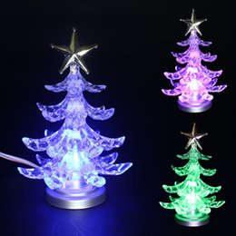 free shipping christmas tree ornaments usb colorful clear crystal led flash lighting plastic acrylic mini charge decoration with retail box - Usb Christmas Tree