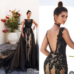 Discount long evening peplum dresses back drape - Hot Sale Evening Gowns Dresses Sheer Bateau Neckline Lace Appliques Beading Sequins With Detachable Train Black Prom Dre