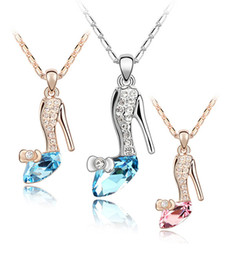 Chinese  Fashion Austria Crystal Shoes pendants necklace Silver&Gold chains Ladies Rhinestones high-heeled shoe Charms Necklaces For women Jewelry manufacturers