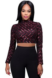 Barato Camisolas De Alças Pretas Longas-Black Burgundy Diamond Sequin Crop Top 2017 Luxo Sparkly manga comprida Mulheres Casual Party Club Tank Top barato