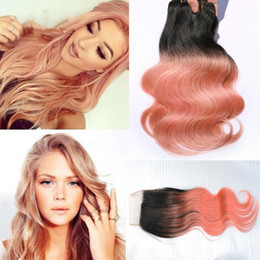 $enCountryForm.capitalKeyWord Canada - New Arrival Dark Root Rose Gold Body Wave Ombre Human Hair With Closure 1B Rose Gold Hair Weft With Top Closure 4x4
