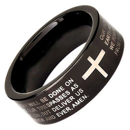 $enCountryForm.capitalKeyWord Canada - Couples black tungsten prayer ring Classical Jewelry Finger ring for men and women black plated and cross prayer words engraved