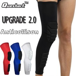 Discount knees protector - Wholesale- 1Pcs Breathable Sports Kneepad Men Honeycomb Long Calf & Knee Support Brace Pad Protector Basketball Leg Slee
