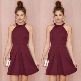 2017 Burgundy Keyhole A Line Graduation Dresses Backless Short Mini Cocktail Gowns Bling Homecoming Dresses Under 70 Prom Gowns