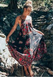 dd5e0ff7bc71 Spaghetti Strap Backless Sexy Women Dress Chic Vintage Printed Chiffon Dresses  Loose Hem Boho Beach Vestidos
