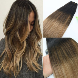 Blonde hair Brown highlights online shopping - 8A gram Brazilian Virgin Hair Human Hair Weft Ombre Medium Brown With Ash Blonde Balayage Highlights