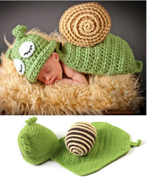 Barato Traje Caracol Infantil-Baby Photography Props Cute Snail Set Newborn Boy and Girl Crochet Outfit Infant Coming Home Photo Props Boneca Acessórios Baby Hat BP043