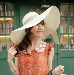 Wholesale Straw Hats For Sale Canada - 2017 hot sale Women spring and summer Wide Brim Beach Sun Hat Straw Cap for party