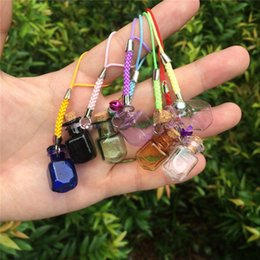 $enCountryForm.capitalKeyWord Canada - Glass Bottles Charms Rectangle Shape Mini Bell Bracelets Bottles Key Chains Jars Glass Charms Bottles Favor Mixed Colors 7pcs