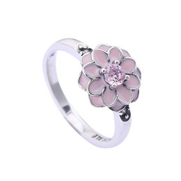 pink pave ring UK - 2017 Winter New 925 Sterling Silver Engagement Rings for Women Crystal With Pink Enamel Pave Magnolia Bloom Flower Rings Fine Jewelry BF267