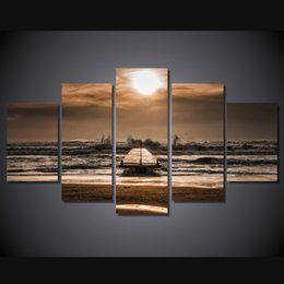 wave art canvas sets Canada - 5 Pcs Set Framed HD Printed Sunset Beach Waves Picture Wall Art Canvas Print Room Decor Poster Canvas Pictures Painting