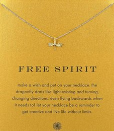 with card cute dogeared necklace with dragonfly free spirit silver and gold color no fade free shipping and high quality