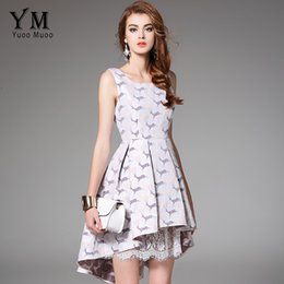 Barato Mulheres Bonitas Vestuário Atacado-Atacado- YuooMuoo 2017 New Arrival Party Dress Mulheres European Fashion Sleeveless Trumpet Cute Lace Patchwork Dress Cute Women Clothing