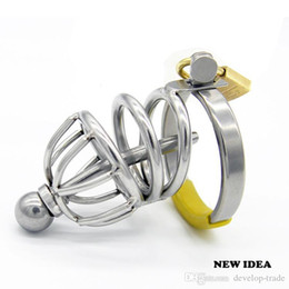 Discount gay male catheter fetish Sex Toy New STAINLESS STEEL CHASTITY DEVICE Male BONDAGE CAGE Gay Fetish Adult Products A065
