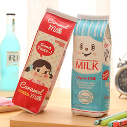 office milk supplies Canada - Simulation Milk Box Pencil Bags PU Leather Pencil Case Stationery Storage Organizer Bag School Office Supply