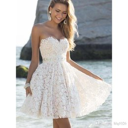 sweetheart above knee lace dress 2019 - A-Line Scoop Knee-Length Off the Shoulder Strapless Ridesmaid Dresses Party Prom Gowns Sweetheart Puffy Women Dresses Fr