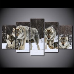 $enCountryForm.capitalKeyWord NZ - 5 Pcs Set Framed HD Printed canvas art wolf snow wild animal painting livingroom decoration wall art Free shipping ny-2808