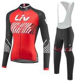 Bicycle wear women online shopping - LIV women long sleeve bib kits cycling jerseys sport wear cycling clothes mtb bike bicycle clothing women cycling set red