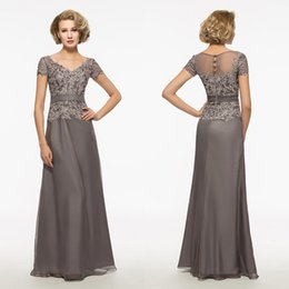Vente Robe De Mariée Mère Pas Cher-V-Neck Lace Chiffon Gaine Mère de la mariée Robes Plus Size Gray Floor-Length Cheap Custom Custom Made Hot Sale Robes de soiree formelle