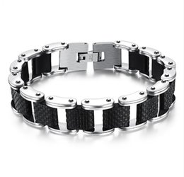 stainless steel square link chain UK - Square Genuine Sillcone Mens Bracelet Stainless Steel Motorcycle Biker Chain Design Casual Style Double Safety Claspes GS832