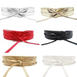 $enCountryForm.capitalKeyWord Canada - Wholesale- 1PC Fashion Elegant Women Lady Spring Metallic Color Soft Faux Leather Wide Belt Self Tie Wrap Around Waist Band Dress Hot