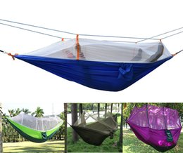 super single beds 2019 - Wholesale- Wholesale 50pcs lot Outdoor Portable camping Mosquito net sleeping hammock High strength parachute Fabric dou