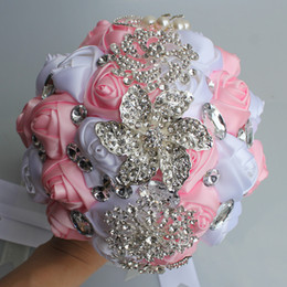 white pink flower bouquet NZ - Pink White Wedding Bridal Bouquets Simulation Flower Wedding Supplies Artificial Flower Crystal Sweet 15 Quinceanera Bouquets W228-X