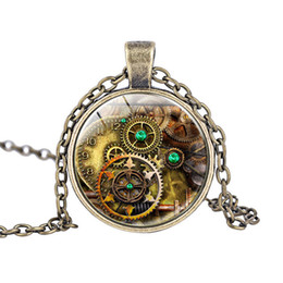american gears Canada - Steampunk compass watch glass cabochon necklace pendant necklace gears gear for friend birthday party gift free shipping