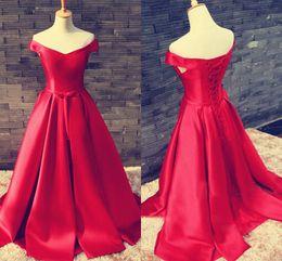 Discount short black white corset prom dresses - Elegant Red Satin Long Prom Dresses Off Shoulder Short Sleeves Floor Length Corset Lace Up Evening Dresses Simple Cheap